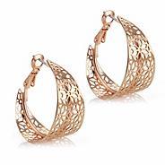Designer rose gold cut out hoop earring