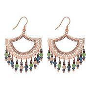 Designer rose gold fan drop earring