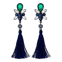 Butterfly by Matthew Williamson - Designer green crystal tassel drop earrings