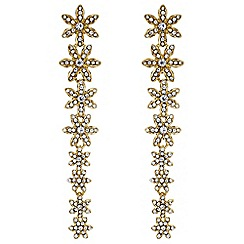 Butterfly by Matthew Williamson - Designer gold floral drop earrings