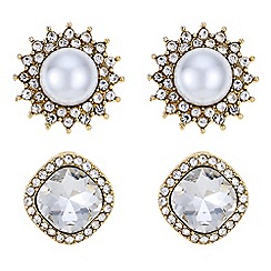 Butterfly by Matthew Williamson - Designer pearl and crystal stud earrings set