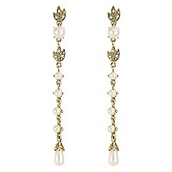 Butterfly by Matthew Williamson - Designer pearl and leaf drop earrings