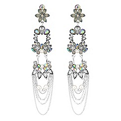 Butterfly by Matthew Williamson - Crystal floral chain drop earrings