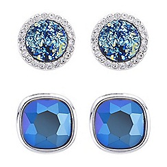 Butterfly by Matthew Williamson - Blue crystal stud earrings set