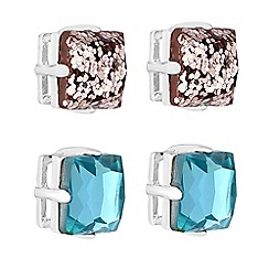 Butterfly by Matthew Williamson - Crystal glitter stud earrings set