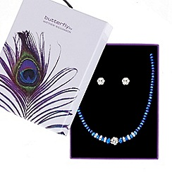 Butterfly by Matthew Williamson - Designer metallic blue bead necklace and earring set