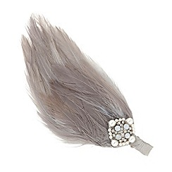 Butterfly by Matthew Williamson - Designer grey feather embellished hair clip
