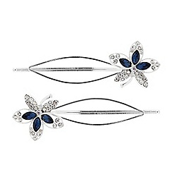 Butterfly by Matthew Williamson - Designer blue crystal flower hair slide set