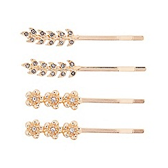 Butterfly by Matthew Williamson - Designer set of four rose gold floral leaf hair slides