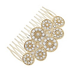Butterfly by Matthew Williamson - Designer Gold crystal art deco hair comb