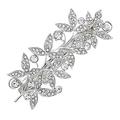 Butterfly by Matthew Williamson - Designer silver crystal leaf hair clip