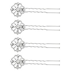Butterfly by Matthew Williamson - Designer set of four silver crystal hair pins