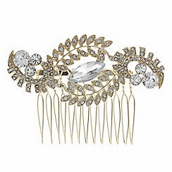 Butterfly by Matthew Williamson - Designer gold crystal leaf hair comb