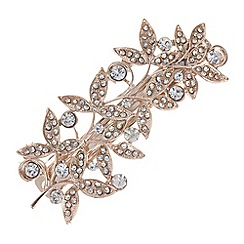 Butterfly by Matthew Williamson - Designer rose gold crystal leaf hair clip