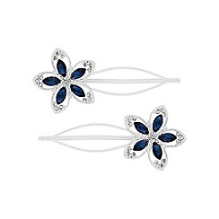 Butterfly by Matthew Williamson - Designer blue flower hair slide set