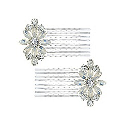 Butterfly by Matthew Williamson - Designer crystal flower hair comb set