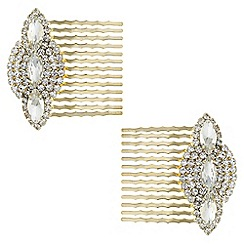 Butterfly by Matthew Williamson - Designer gold crystal deco hair comb set