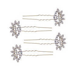 Butterfly by Matthew Williamson - Designer gold crystal fan hair pin set