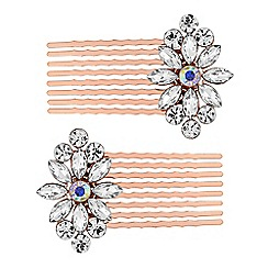 Butterfly by Matthew Williamson - Designer rose gold crystal hair comb set