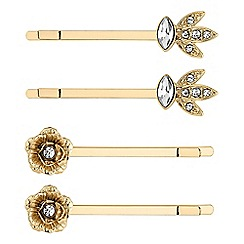 Butterfly by Matthew Williamson - Designer gold floral hair slide set