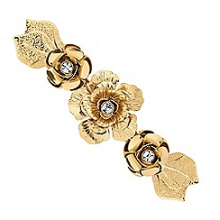 Butterfly by Matthew Williamson - Designer gold crystal flower hair clip