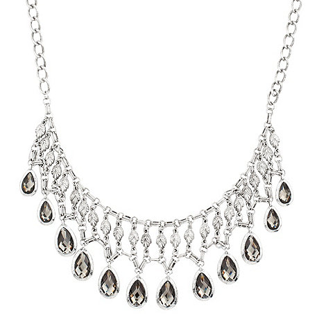 Butterfly by Matthew Williamson - Statement antique silver multi leaf droplet necklace