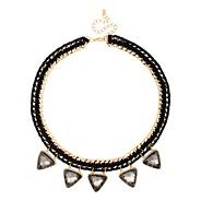 Black triangular drop fabric chain necklace