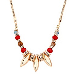 Butterfly by Matthew Williamson - Designer red bead and gold spike drop necklace