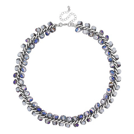 Butterfly by Matthew Williamson - Designer blue and grey facet bead wrap necklace