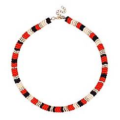 Butterfly by Matthew Williamson - Designer coral and jet zig zag necklace