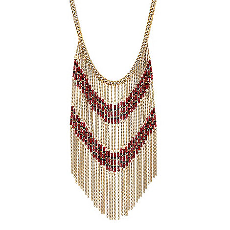 Butterfly by Matthew Williamson - Designer red and jet seed bead cascade necklace