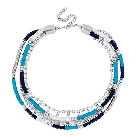 Butterfly by Matthew Williamson - Designer blue sequin beaded multirow necklace