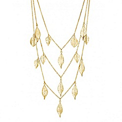 Butterfly by Matthew Williamson - Designer long gold multi leaf drop necklace