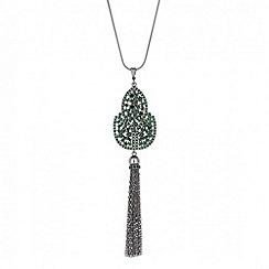Butterfly by Matthew Williamson - Designer embellished green pendant tassel necklace
