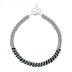 Butterfly by Matthew Williamson - Designer twisted blue bead and silver ball necklace