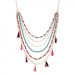 Butterfly by Matthew Williamson - Designer beaded multi row chain tassel necklace