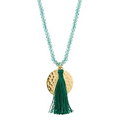 Butterfly by Matthew Williamson - Designer green bead and disc tassel necklace