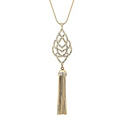 Butterfly by Matthew Williamson - Designer crystal embellished filigree tassel drop necklace