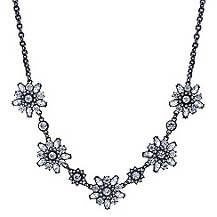 Butterfly by Matthew Williamson - Designer hematite crystal flower necklace