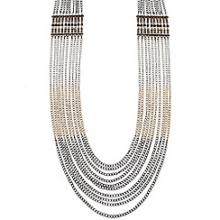 Butterfly by Matthew Williamson - Designer triple tone multi row chain necklace