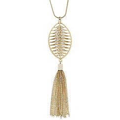 Butterfly by Matthew Williamson - Designer long crystal leaf tassel drop necklace