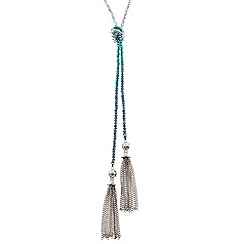 Butterfly by Matthew Williamson - Designer mixed blue bead tassel drop necklace
