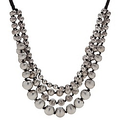 Butterfly by Matthew Williamson - Designer grey ball bead multirow necklace