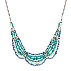 Butterfly by Matthew Williamson - Tonal blue beaded draped necklace