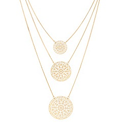 Butterfly by Matthew Williamson - Designer gold filigree multi row disc necklace