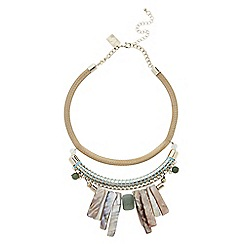 Butterfly by Matthew Williamson - Designer shell and stone cord statement necklace