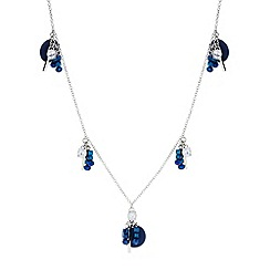Butterfly by Matthew Williamson - Designer blue beaded disc charm long necklace