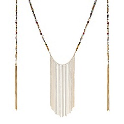 Butterfly by Matthew Williamson - Designer beaded fringe long rope necklace