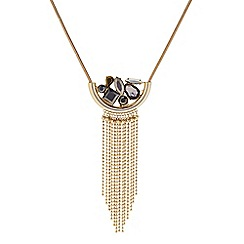 Butterfly by Matthew Williamson - Designer Gold cluster stone hanging drop long necklace
