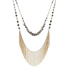 Butterfly by Matthew Williamson - Designer Gold double row bead and tassel necklace